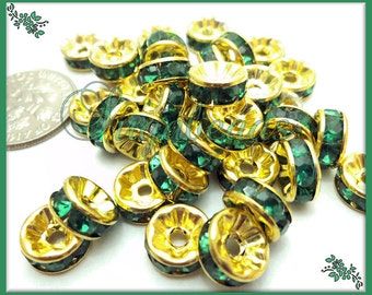 48 x Bright Gold & Green Rhinestone Spacers, Green Crystal Rondelles 8mm