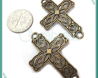 4 Filigree Antiqued Brass Cross Connectors 42mm