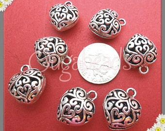 8 Silver Heart Charms, Filigree Hearts, Antiqued Silver Filigree Puffy Heart Charms, 16mm Silver Filigree Heart, PS37