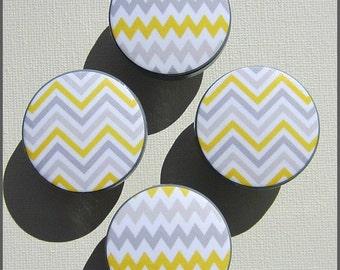 Chevron Drawer Knobs • Sunshine Yellow • Grey • Chevron Stripes • Drawer Pulls • Chevron Knobs