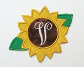Initial Sunflower Embroidered Applique-100367