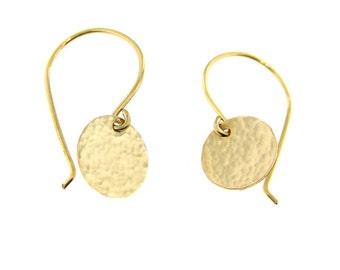 Light Catcher - Hammer Finish Tiny 14k Gold Filled Earrings (GE002)
