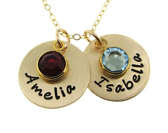Hand stamped Gold Mothers Birthstone jewelry - Personalized necklace - TWO NAMES (NN075)
