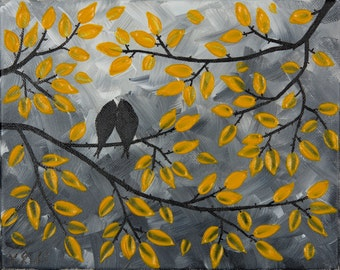 "Yellow Grey Birds painting Wall art wall decor Texture Impasto Tree Love Birds oil painting Wall Hangings ""Misty Morning"" by QIQIGALLER"