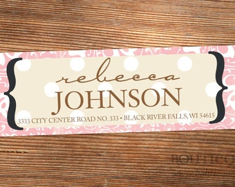 Damask Custom Return Address Labels - Pink and Brown Crazy Day