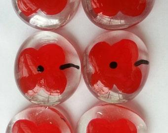 Handpainted large glass gems party favors poppies poppy  mini art flowers flower