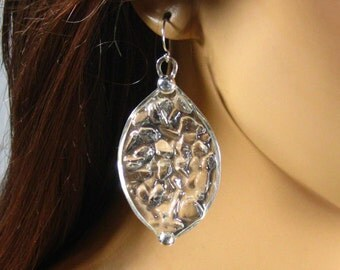 Sterling silver, clear quartz crystal and resin, ice water earrings, statement, gift