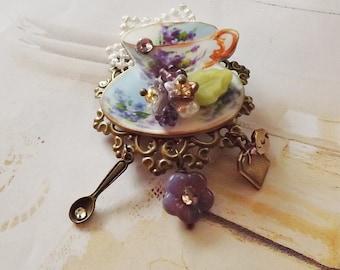 Vintage, Violet, Teacup, Brooch, II