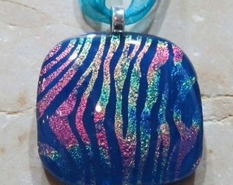 Fused Glass Pendant with ribbon necklace: Rainbow Zebra Blues SALE