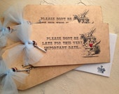 Alice in Wonderland Invitations - custom invitations and matching envelopes - your choice of ribbon and image - Set of 30