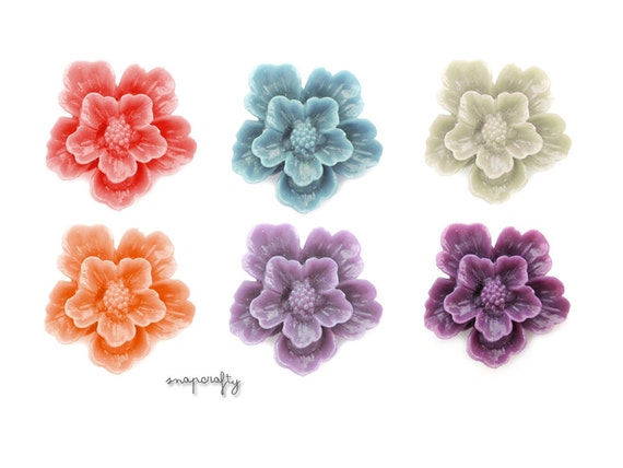 4pc layered sakura flower cabochons / resin cabs for creating jewelry / choose your colors
