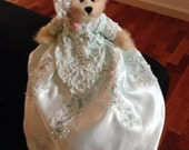 Beautiful Teddy bear dressed with full skirt outfit and hat