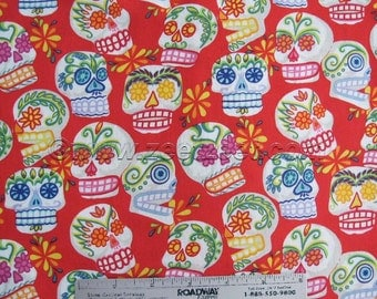 MINI CALAVERAS SKULLS Red Alexander Henry Cotton Quilt Fabric - by the Yard Sugar Skulls