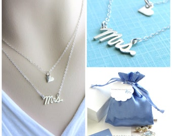 New Bride Gift • Double Layered Necklace • Mrs. & Heart Layering Necklace •  Bridal Shower Gift • Honeymoon Gift • Layered Necklaces
