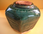 Reserved for Marianne Lucas Antique Chinese six sided jar GREEN glaze hexgonal Shiwan  pot Ginger jar