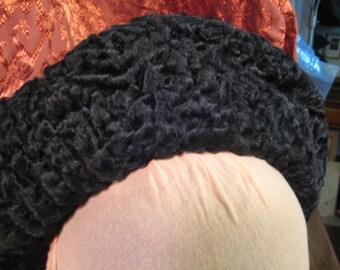 Vintage Persian Lamb hat Lambs wool fur cap Black sheep curly lamb