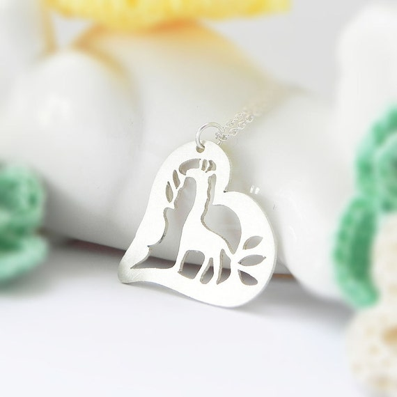 Giraffe Necklace, Heart, Sterling Silver