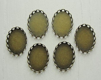 Antiqued Brass unplated lace edge cabochon oval settings, 13x18mm, 8 pcs SET233