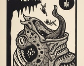 Tsathoggua Toad God Necronomicon woodcut print 11 x 14