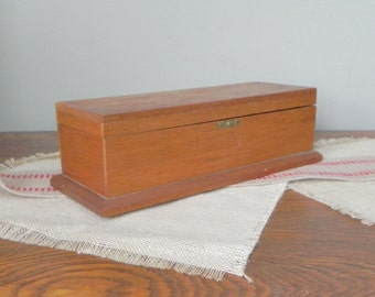 Vintage wood box -candle box long and narrow  lid cover - patina storage organize perfect for collectible pens and pencils