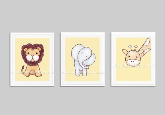 Nursery art prints, baby boy nursery decor, nursery print, safari animals, kids wall art, elephant giraffe lion yellow, set, 3 prints