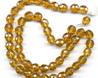 Vintage Golden Amber Glass Beads 8mm Faceted Luster Finish 50 Pcs.