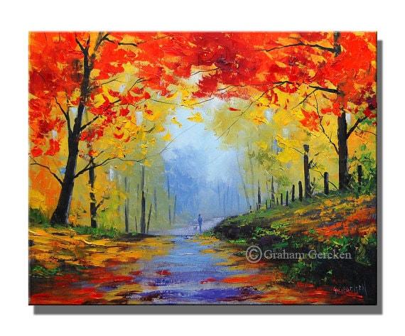 Paysage de peinture l 39 huile arbres automne peinture - Paysage peinture facile ...