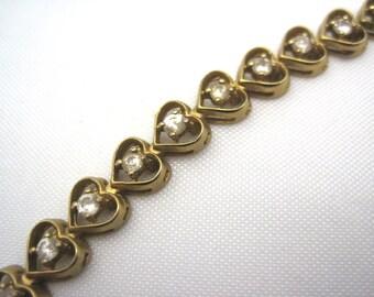Vintage Heart Tennis Bracelet - Crystal