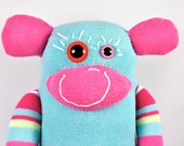 Sock Monkey LUDLOW: large, pink, blue, orange, yellow, stripes, handmade plush toy softie.