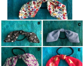 Fabric Hair Bows Ponytail Holders