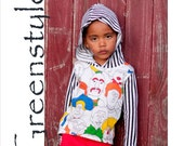 Instant Download Greenstyle Lacy n Lane Hooded T-Shirt  Easy PDF Pattern for  3 years to 14 years