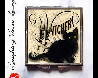 Witch Pill Box - Black Cat Compact Mirror - Witch Compact Mirror - Witchery Compact - Black Cat Pill Box - Witch Pill Case - Pillbox