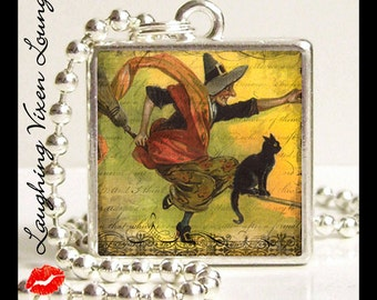 Halloween Necklace - Witch Jewelry - Halloween Jewelry - Witch Necklace- Vintage Halloween Style-E Small Pendant - Witch Pendant
