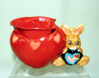 Miniature African Violet Flower Pot Ceramic Two Piece  Self Watering Brown Bunny/Red Heart on Etsy