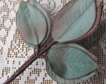 Vintage Millinery Rose Leaves 18 Small Bluish Ombre Fabric Leaves Japan 1950s  VL 095 LG