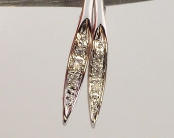 Reserved till July 15th 14k Solid White Gold Diamond Earwires One Pair