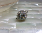 1pc 14mm Magnetic Clasp, Round, Silver tone, Rhinestone, Jewelry Clasp, Fancy, Jewelry Supplies, Jewellery Supplies
