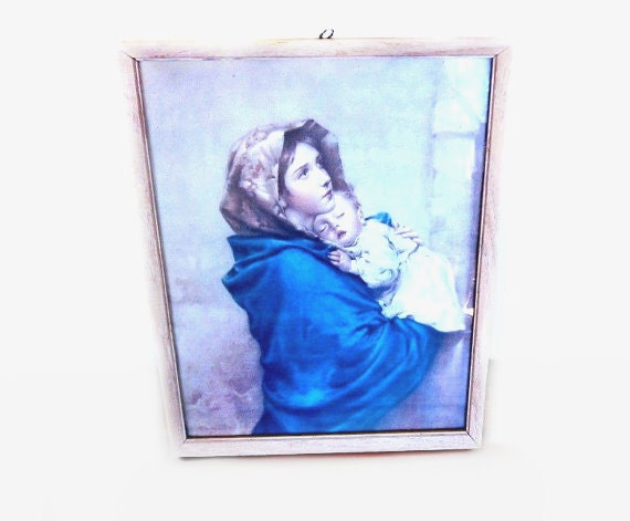 Vintage Religious Print, Madonnina Wall Art