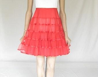 Vintage Red Crinoline Petticoat Skirt