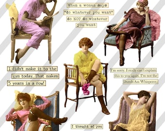 Digital Collage Sheet  Funny Lady Images Have a Seat  (Sheet no. O222) Ephemera-Instant Download