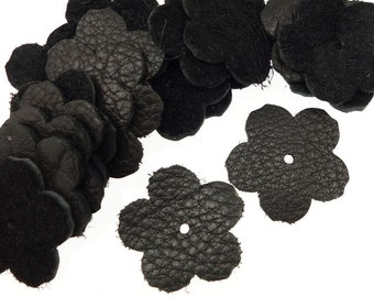 "20 Medium Black Leather Flowers - TierraCast 1"" Rivetable Flowers - Leather Jewelry Supplies - 21-0051-17"