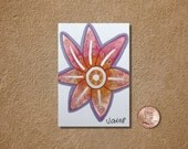 Pink Orange Flower with Silver ACEO Original Watercolor Painting