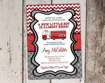 Fire Truck Baby Shower Invitations - Boy - Red and Gray