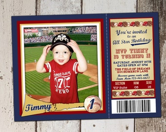 Baseball Ticket Birthday Invitation - All Star Sports theme with Baseball Card Photo Spot - JPG file - print yourself