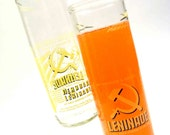 Set of two Recycled Leninade Soda Bottle Drinking Glass Cups / Russian Orange Soda / Hammer and Sickle