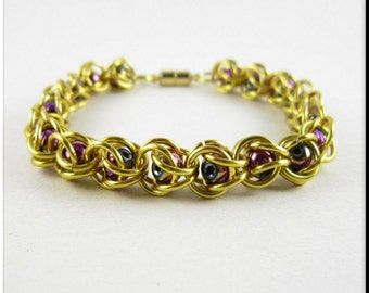 Captured Bead Chain Maille Bracelet Gold with Rainbow Hematite Beads