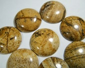 3 round Picture Jasper cabochons, about 25 to 26mm in diameter, 6-7mm thick