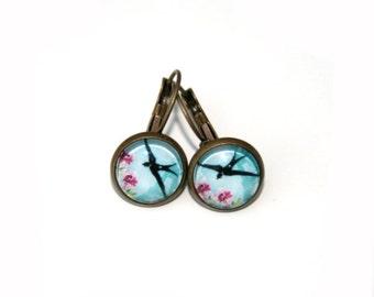 Bird Earrings, Illustration Jewelry, Dangle Earrings