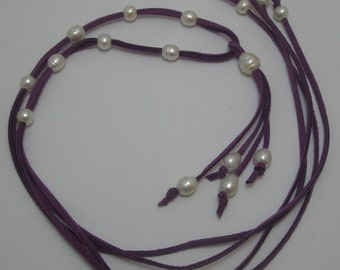 Genuine Motion Pearl Double Rope necklace versatile with removable pendant on Purple Orchid Color suede