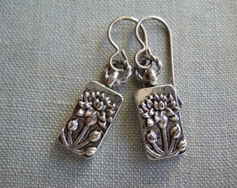 Tiny Lotus Earrings Embossed Silver Metal Rectangle OM Jewelry Yoga on Niobium Rounded Ear Wires Simple Everyday Jewellry